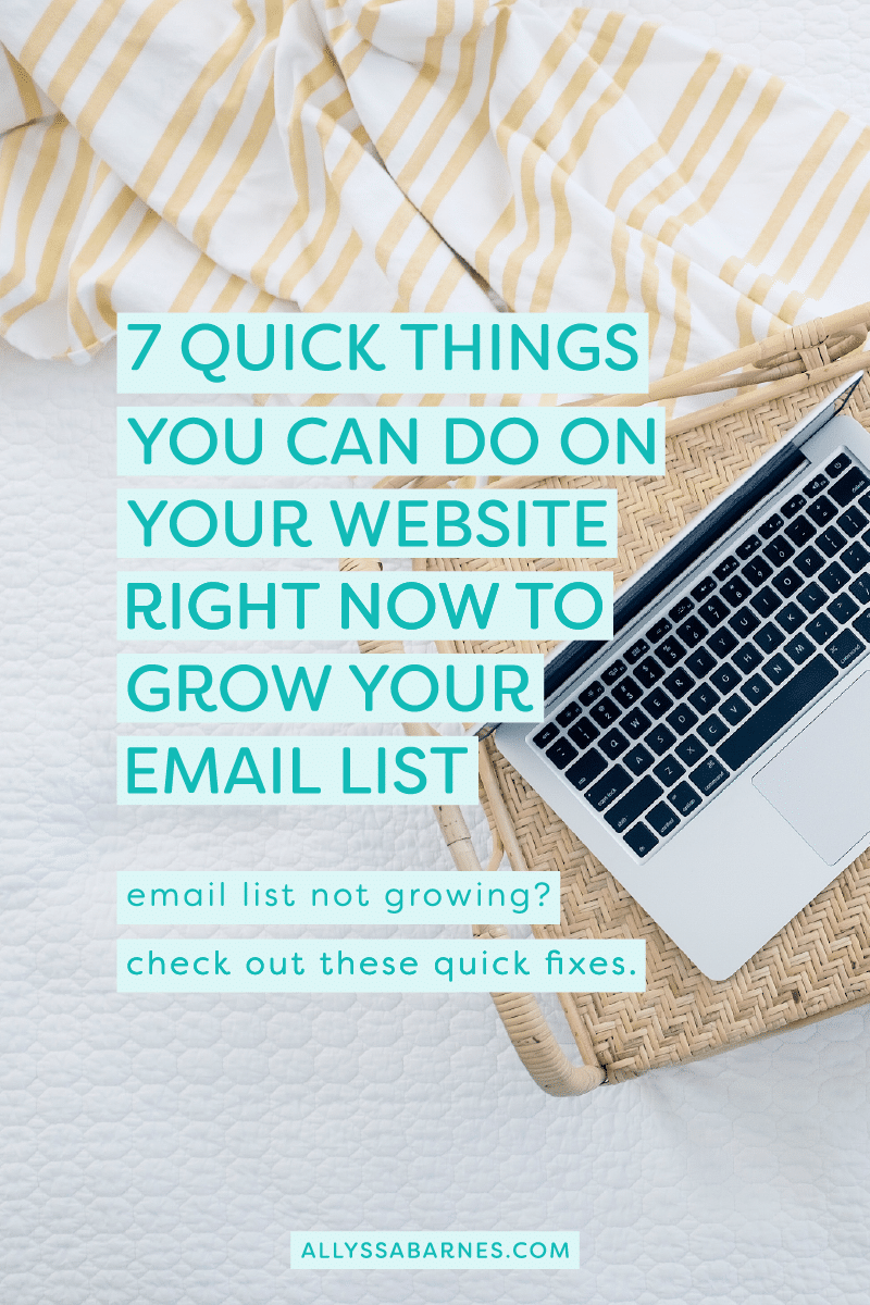 7 Quick Things You Can Do On Your Website Right Now to Grow Your Email List